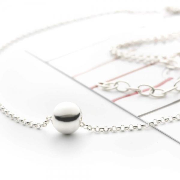Collier perle argent sur chaîne