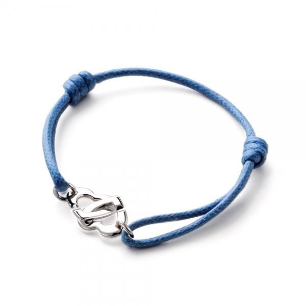Bracelet menottes coeur sur cordon