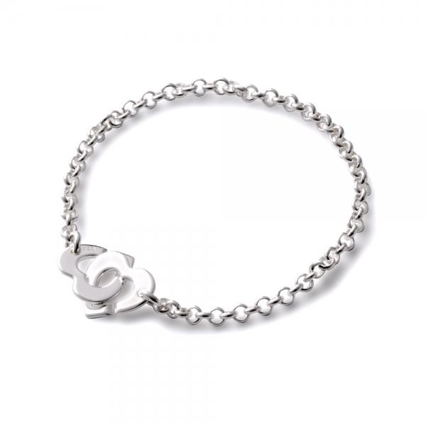 Bracelet menottes coeur sur chaîne