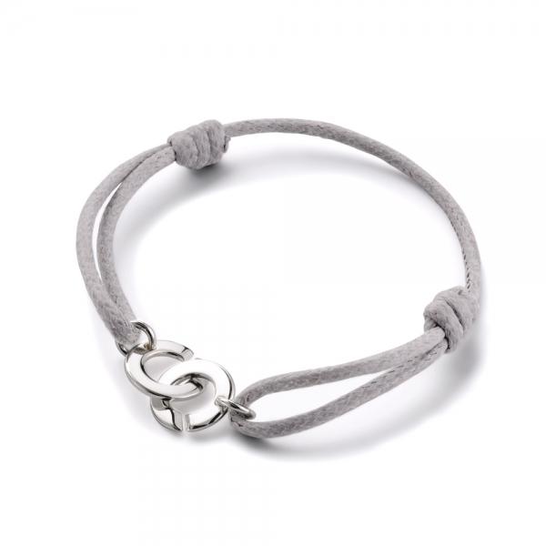 Bracelet menottes rondes sur cordon