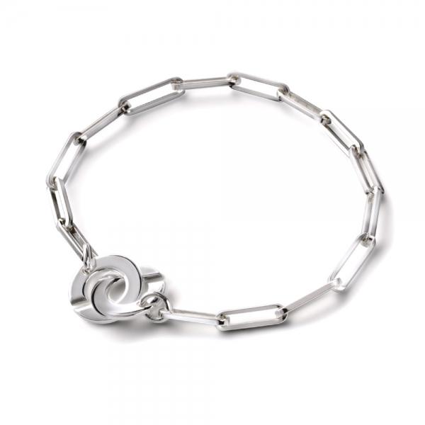Bracelet menottes rondes sur chaîne